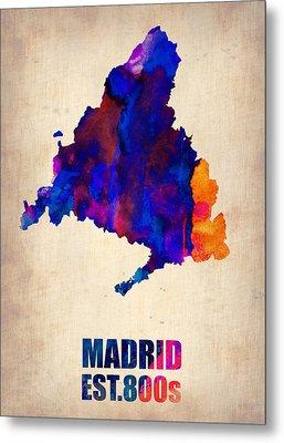 Madrid Watercolor Map Metal Print by Naxart Studio
