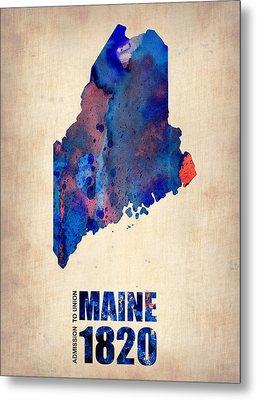 Maine Watercolor Map Metal Print by Naxart Studio