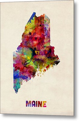 Maine Watercolor Map Metal Print by Michael Tompsett