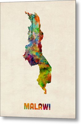 Malawi Watercolor Map Metal Print by Michael Tompsett