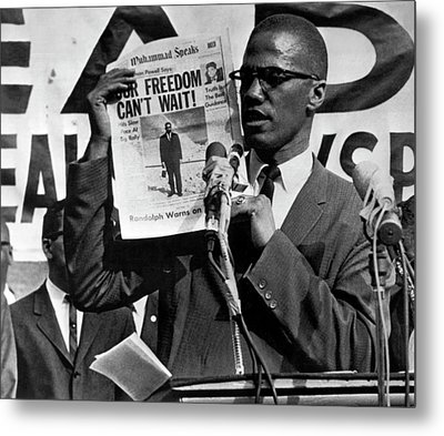 Malcolm X Speaks Metal Print by Underwood Archives