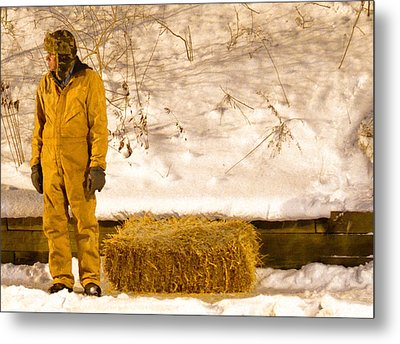 Man And Hay Metal Print