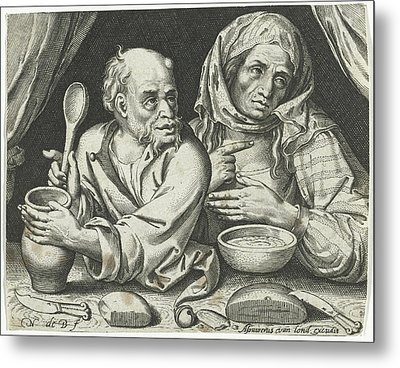Man And Woman Eating Porridge, Nicolaes De Bruyn Metal Print by Nicolaes De Bruyn And Assuerus Van Londerseel