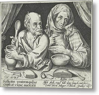 Man And Woman Eating Porridge, Nicolaes De Bruyn Metal Print by Nicolaes De Bruyn And Claes Jansz. Visscher (ii)