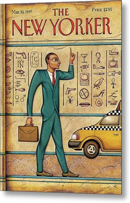 Man Hails Taxi While Resembling An Egyptian Metal Print