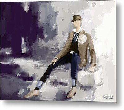Man In A Fedora Fashion Illustration Art Print Metal Print by Beverly Brown