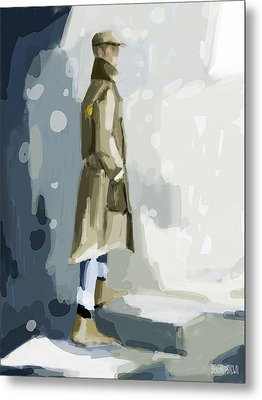 Man In A Trench Coat Fashion Illustration Art Print Metal Print