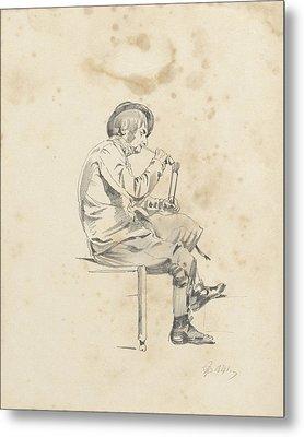 Man Lighting His Pipe, Pieter Van Loon Metal Print