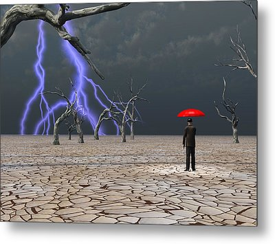 Metal Print featuring the digital art Man Takes In Storm Under Umbrella by Bruce Rolff
