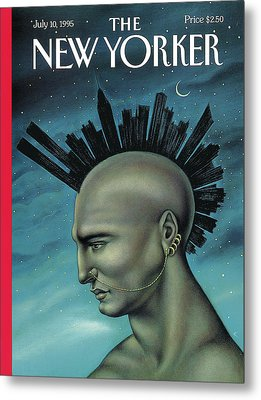 Man With A Mohawk That Resembles The Nyc Skyline Metal Print