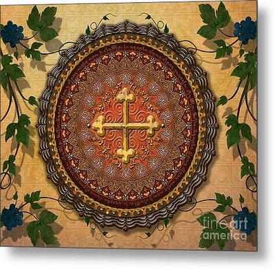 Mandala Armenian Cross Sp Metal Print by Bedros Awak