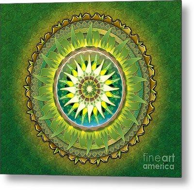 Mandala Green Sp Metal Print by Bedros Awak