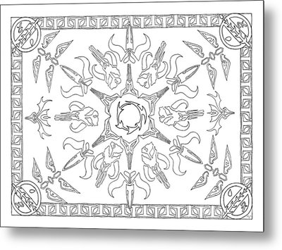 Metal Print featuring the drawing Mando'ade Darasuum Bw by Mary J Winters-Meyer