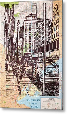 Manhattan On Map Metal Print by William Cauthern