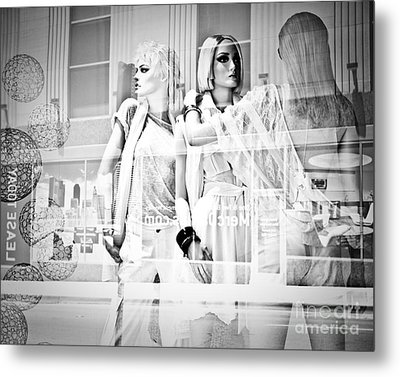 Mannequins In White Metal Print by Sonja Quintero
