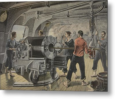 Manoeuvering Of A Cannon By The Spanish Metal Print