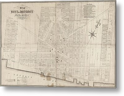 Metal Print featuring the painting Map Detroit, 1835 by Granger