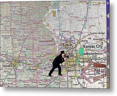 Map Overland Park Kansas Metal Print by Liane Wright