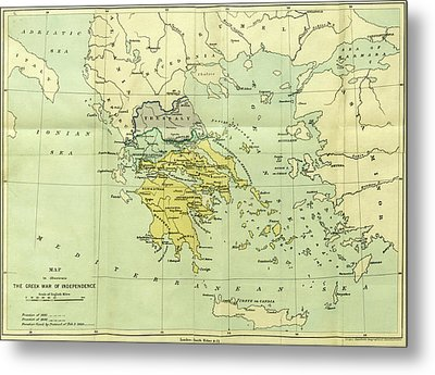 Map, The War Of Greek Independence, 1821 To 1833 Metal Print