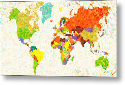 maps pointilism World Map Metal Print by MotionAge Designs
