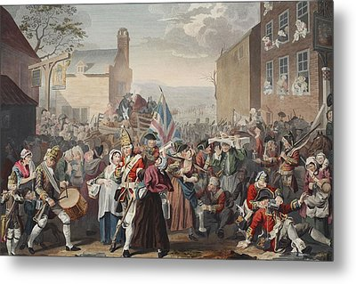 March Of The Guards To Finchley Metal Print by William Hogarth
