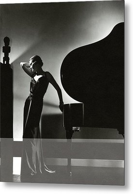 Margaret Horan Posing Beside A Piano Metal Print by Edward Steichen