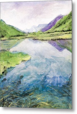 Metal Print featuring the painting Margo's Mountains by Ron Richard Baviello