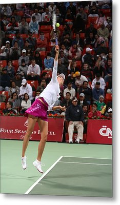 Maria Sharapova Serves In Doha Metal Print by Paul Cowan