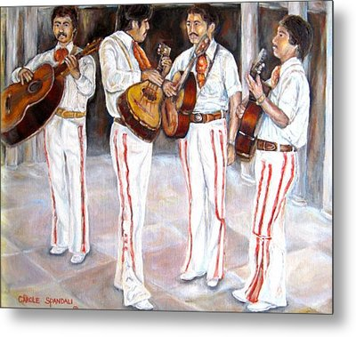 Metal Print featuring the painting Mariachi  Musicians by Carole Spandau