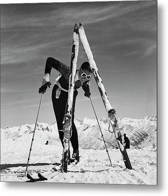 Marian Mckean With Skis Metal Print by Toni Frissell