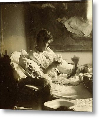Marie Jordan Dressed Sitting In Bed With A Cup In Her Hands Metal Print by Artokoloro