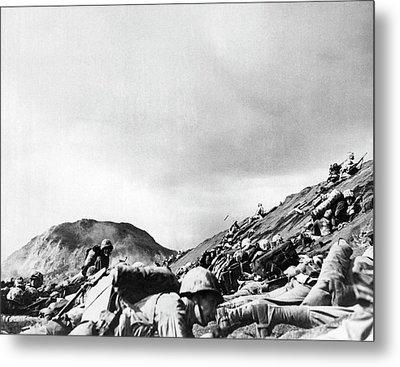 Marines Land On Iwo Jima Metal Print by Underwood Archives