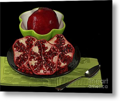 Market Fresh Pomegranate Fruit Metal Print by Inspired Nature Photography Fine Art Photography