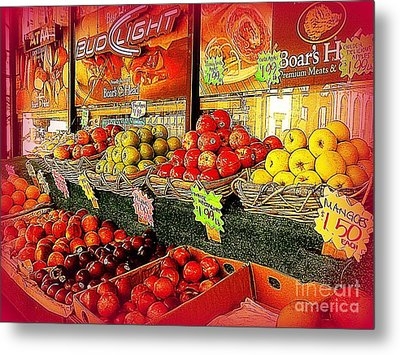Apples And Plums In Red - Outdoor Markets Of New York City Metal Print by Miriam Danar