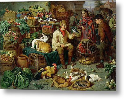 Market Scene Metal Print by Henry Charles Bryant