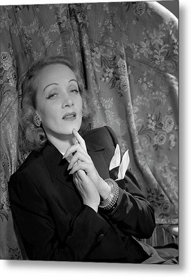 Marlene Dietrich Wearing A Suit Jacket Metal Print by Horst P. Horst