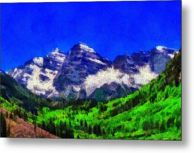 Maroon Bells Colorado Peaks On Canvas Metal Print by Dan Sproul