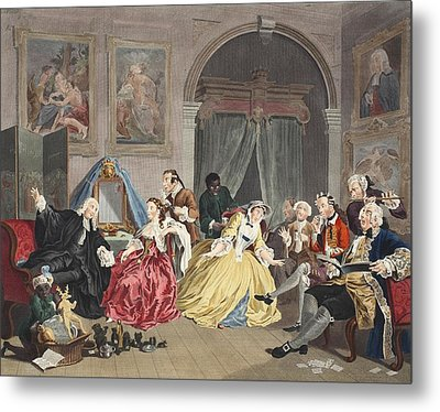 Marriage A La Mode, Plate Iv, The Metal Print by William Hogarth