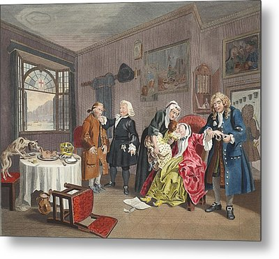Marriage A La Mode, Plate Vi, The Ladys Metal Print by William Hogarth