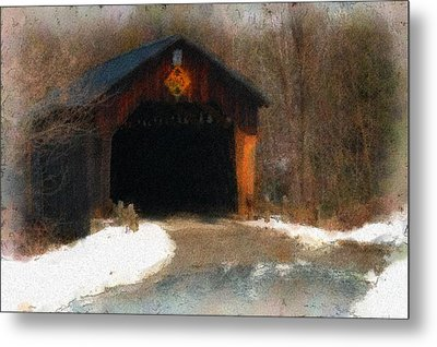 Metal Print featuring the photograph Martinsville Covered Bridge by Mike Martin