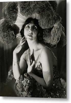Mary Nash Wearing A Headdress Metal Print
