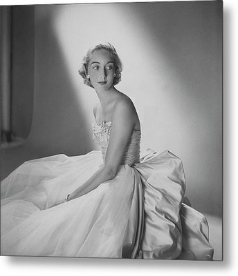 Mary Sargent Ladd Wearing A Tulle Dress Metal Print by Clifford Coffin