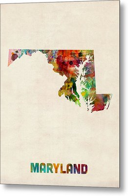 Maryland Watercolor Map Metal Print
