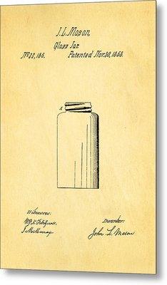 Mason Jar Patent Art 1858 Metal Print