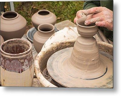 Master Potter Shaping Clay Metal Print