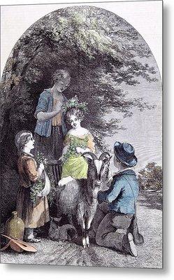May G.w. Willis Children Goat Pastoral Spring Metal Print