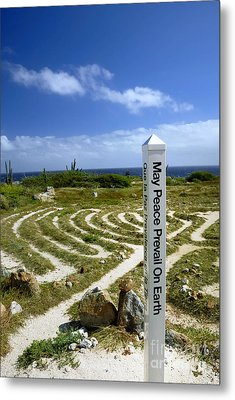 May Peace Prevail On Earth Peace Labyrinth Aruba Metal Print by Amy Cicconi