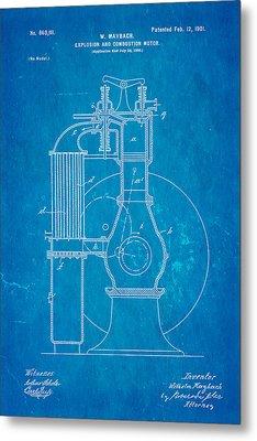 Maybach Internal Combustion Engine Patent Art 1901 Blueprint Metal Print by Ian Monk