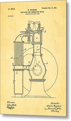 Maybach Internal Combustion Engine Patent Art 1901 Metal Print by Ian Monk