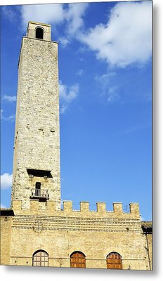 Medieval Tower In San Gimignano Metal Print by Sami Sarkis